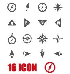 Grey compass icon set vector