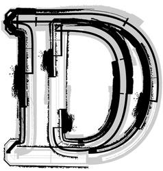 Grunge font letter d vector