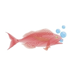 Hand drawing cod fish sealife food ocean bubbles vector