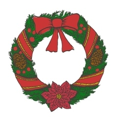 Hand drawn doodle christmas wreath color objects vector