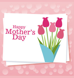 happy mothers day card with bouquet flowers vector image