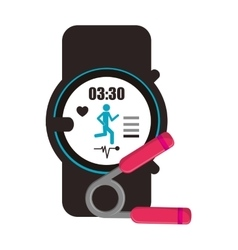Heart rate wrist monitor and hand grip icon vector
