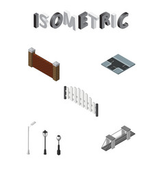 Isometric architecture set of barricade street vector
