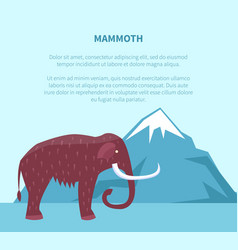 Mammoth near mountain with ice top banner vector