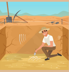 Man sitting in square pit and sweeping dirt from vector
