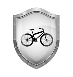 Metallic shield with silhouette bicycle and rack vector