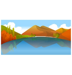 Moutain reflection in water vector