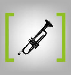 Musical instrument trumpet sign black vector
