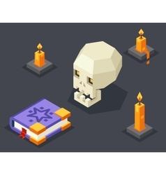 Night wisdom magic icon skull spellbook candles vector