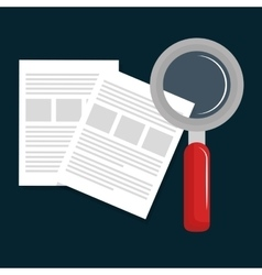 Paper document search magnifying vector