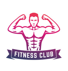 posing athlete fitness club logo emblem vector image vector image