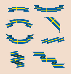 ribbons or banners in colors of swedish flag vector image vector image