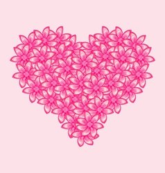 Romantic heart made of pink flowers for Valentine vector image vector image