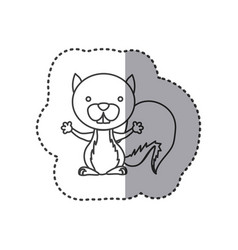 sticker of grayscale contour of squirrel vector image