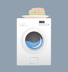 Washing machine with basket flat style vector