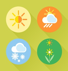 Weather set flat style sun snow clouds flower vector