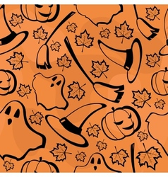 halloween seamless pattern with maples vector image