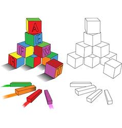 Crayons and cubes vector image
