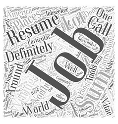Effective resume writing word cloud concept vector