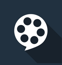 Film reel flat icon with long shadow vector