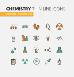 Chemistry linear thin line icons set with dna vector