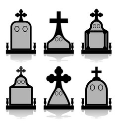 Gravestone set - tombstones silhouettes vector