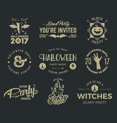 Halloween 2017 party label templates with scary vector