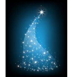 Christmas blue tree with stars vector