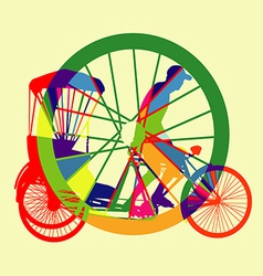 Colourful bicycle taxi silhouette vector