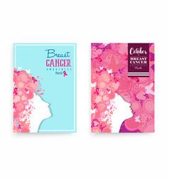 Breast cancer awareness pink girl poster design vector