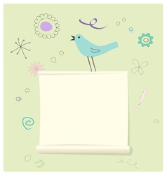 Bird with a message page vector