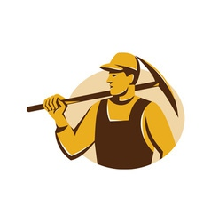 Miner worker with pick ax retro vector