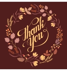 Autumn Wedding Floral Frame Collection Sign thank vector image