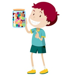 Boy carrying jar of candy vector