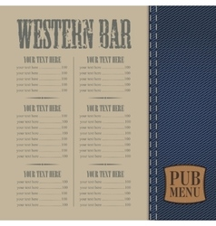 Menu for the pub vector
