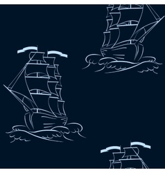 A ship on the waves seamless background vector