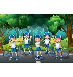 Children wearing helmet when riding bike vector image