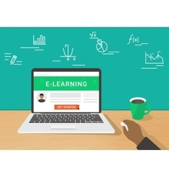 E-learning concept of human hand vector