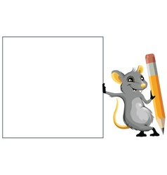 Mouse with a pencil vector