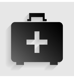 Medical first aid box sign black paper with vector