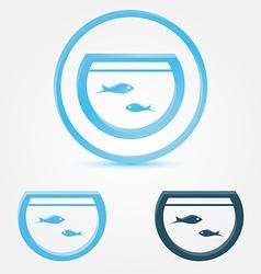 aquarium fish tank icon with a fish vector image