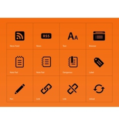 Blogger icons on orange background vector