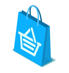 Blue shopping bag icon isometric style vector