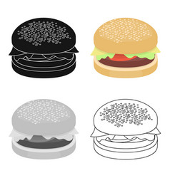 Burger icon in cartoon style for web vector