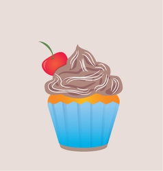 Chocolate cupcake in blue cup vector image