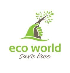 Conceptual of a human hand saving tree vector