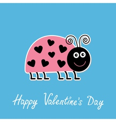 Cute cartoon pink lady bug Happy Valentines Day vector image
