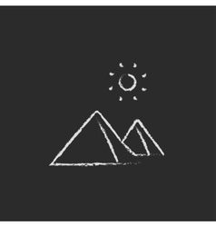 Egyptian pyramids icon drawn in chalk vector image