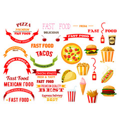 Fast food meal isolated icons ribbons set vector