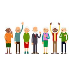 group of gesticulating elderly people vector image vector image